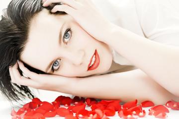 Woman And Petals