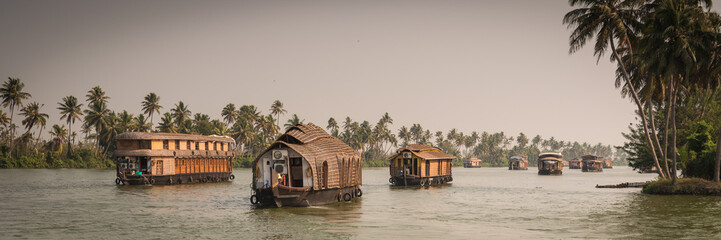 Traditional Indian house boat .Kerala