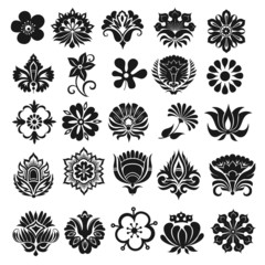 Set of graphical icons flowers