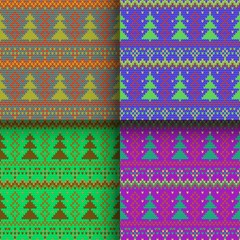 set of seamless knitted patterns