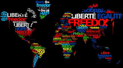 Liberté d'expression presse internationale nuage de mots texte
