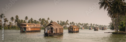 Traditional Indian house boat .Kerala  - 76004533
