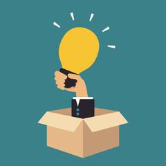 Hand holding light bulb, Business idea