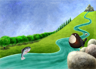 River with salmon and dipper