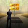 Geschäftsmann auf dem Weg ins Jahr 2015