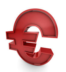 Huge Red Euro Currency Symbol