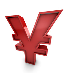 Big Red Japanese Yen Currency Symbol