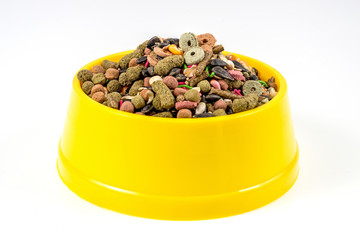 Dry cat food in yellow bowl isolated on white background