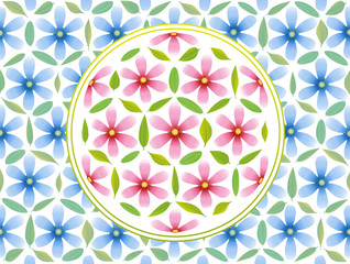 Flower Of Life Pattern Pink Blue