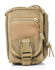 Khaki Tactical pouch in White background