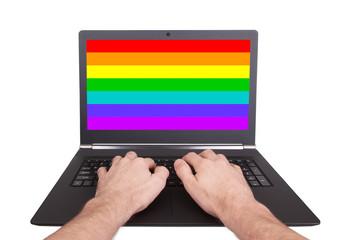 Man working on laptop, XXXXXX
