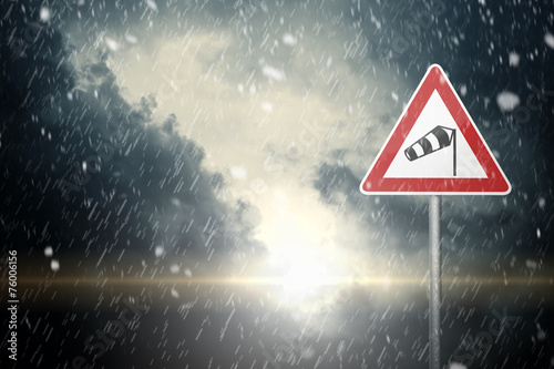 Bad Weather - Caution - Risk of Wind, Snow and Ice - 76006156