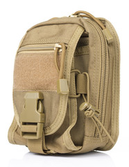 Brown Tactical pouch in White background