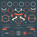 Retro design elements collection poster