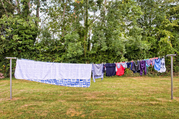 Laundry hanging in a garden