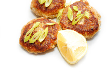 Fried Fish Cakes With Scallions and Lemon