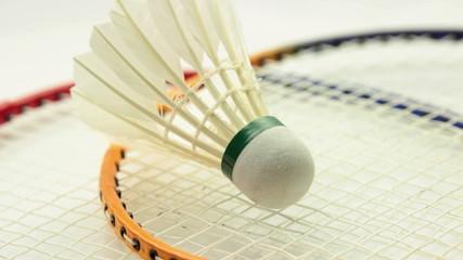 badminton set on white background