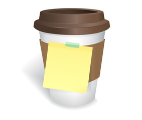 Coffee cup and notepage on white background