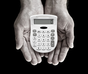 calculator in hands