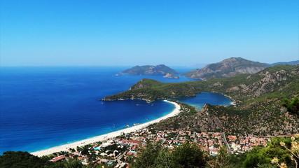 Panorama of coast oludeniz landscape of mediterranean sea turkey