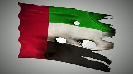 United Arab Emirates burned, grunge waving flag loop alpha