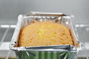 butter cake in electric oven