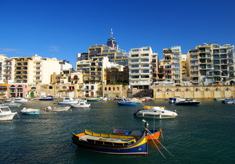 Beautiful autumn day in the old harbor of  Valetta City