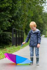 Little boy and his umbrella
