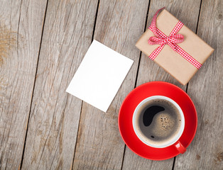Valentines day blank photo frame, coffee cup and gift box