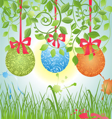 Spring card with easter eggs