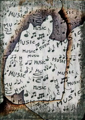 grunge musical notes old burnt paper texture and pattern
