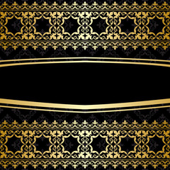 ornamental background with golden decorations - vector black car