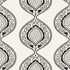 Black luxury ornamental floral wallpaper