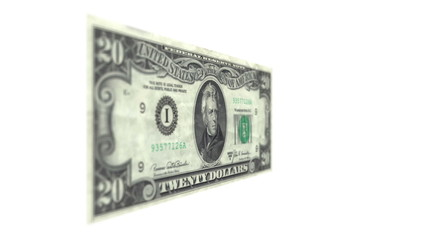 Twenty American Dollar Bill Rotating