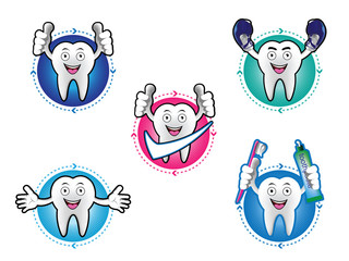 Cartoon Smiling tooth icons set