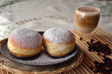 Cup Of Coffee And Sweet Donut