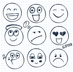 vector set of hand drawn faces, moods