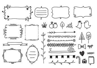 vector floral decor set of hand drawn doodle frames