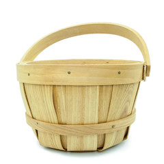 Brown wooden basket isolated on white background