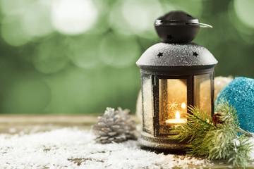 Vintage lantern with seasonal winter decoration