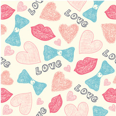 vector seamless wedding, valentine hipster hand drawn cute