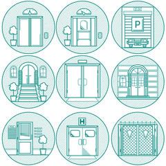 Flat line vector  icons for door