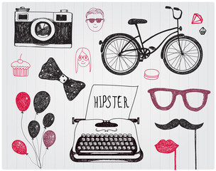 vector hand-drawn set of hipster style elements