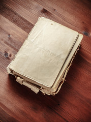 Book blank on old wood background