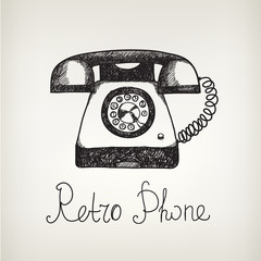 vector hand drawn doodle retro phone