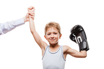 Smiling boxing champion child boy gesturing for victory triumph