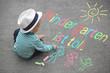 Leinwanddruck Bild - Kinderzeichnung - Kindergarten ist toll.