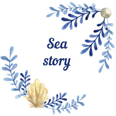Hand drawn watercolor sea story card. With water plant and shell