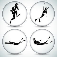 Scuba Diver Icon Set