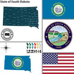 Map of state South Dakota, USA
